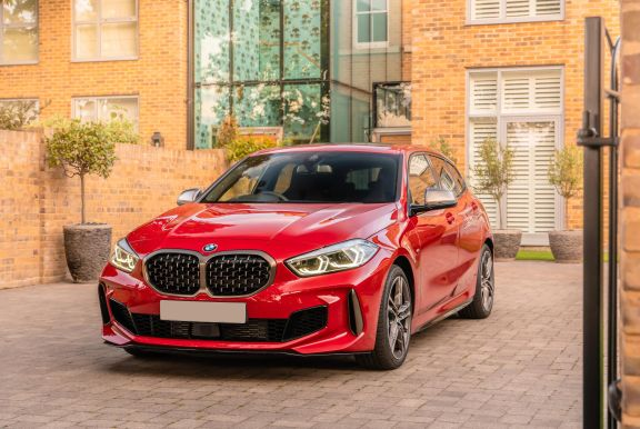 The exterior of a red BMW 1 series